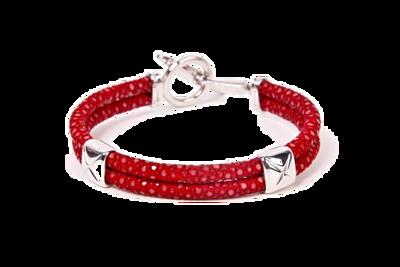 StingHD手鐲-C4  純銀 x 紅珍珠魚皮