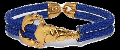 StingHD手鐲-D1  玫瑰金 x 藍珍珠魚皮