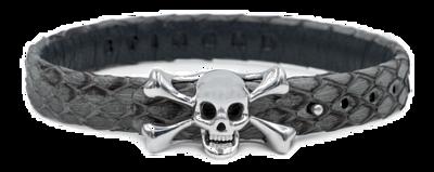 StingHD手鐲-D3  純銀 x 灰蟒蛇皮