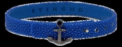 StingHD手鐲-D4  純銀鍍黑鉑金 x 藍珍珠魚皮