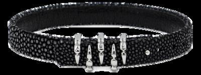 StingHD手鐲-C2  純銀 x 黑珍珠魚皮