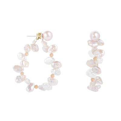 pearl, earrings, pink