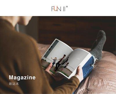 FUN ll,magazine, 雜誌本, 一個人舒適地坐在床上,輕鬆翻閱著充滿幸福回憶照片的雜誌本