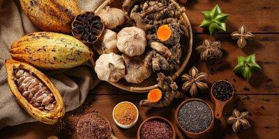 可可, 黑蒜頭, 薑黃, 奇亞籽, 馬告, 紅藜, 印加果