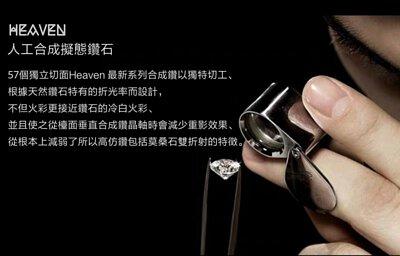 57個獨立切面Heaven 最新系列人造鑽石以獨特切工、 根據天然鑽石特有的折光率而設計,不但火彩更接近鑽石的冷白火彩、 並且使之從檯面垂直合成鑽晶軸時會減少重影效果、 從根本上減弱了所以高仿鑽包括莫桑石雙折射的特徵。