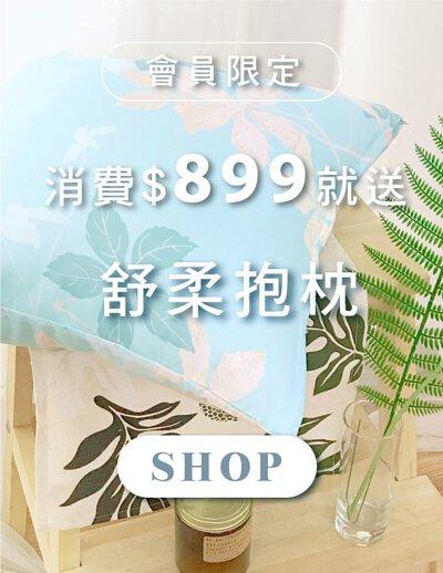 天恩寢具冬特賣,消費滿889元就送方型抱枕。