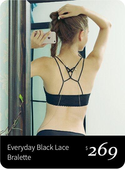 黑色無鋼圈bralette, 美背設計
