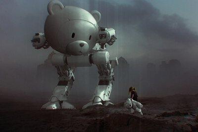 拿著熊玩偶的女孩與熊機器人