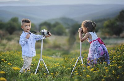 攝影中的孩童