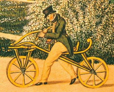 1810年德國男爵Karl von Drais發明的兩輪交通工具