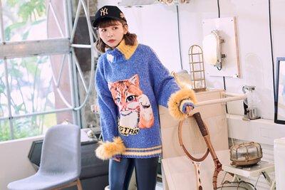 可愛貓咪長版高領毛衣 BW1901