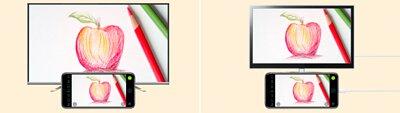 iDocCam 能觀看及調整手機畫面捕捉的即時影像,並能透過 AirPlay、HDMI 或 VGA 等連接方式將影像傳輸到大螢幕上。