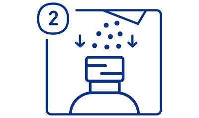 加護靈置放型使用方法步驟二,把附上之小包粉粒倒入瓶中。