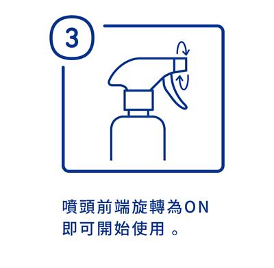 加護靈巨無霸噴霧使用方法第三步驟,噴頭前端旋轉為ON即可開始使用