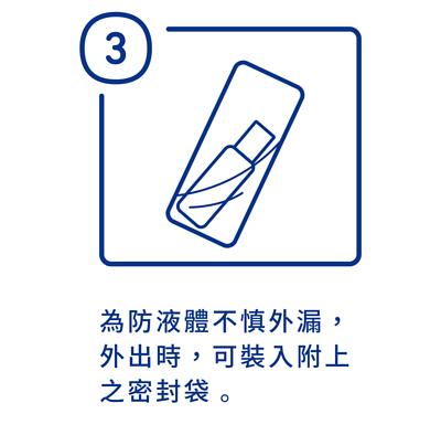 加護靈隨身噴霧使用方法第三步驟,為防止加護靈液體不慎外漏,外出時可將噴霧瓶裝入附上之密封袋內