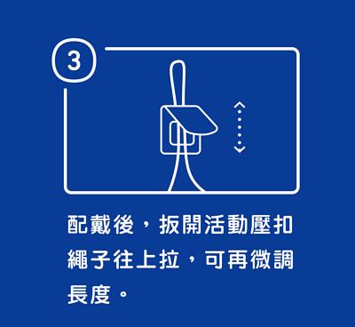 步驟三配戴後,扳開活動壓釦繩子往上拉,可再微調長度