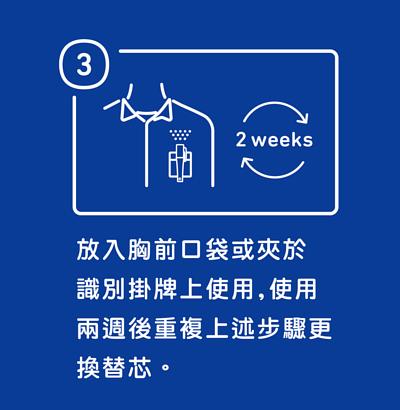 加護靈筆型使用方法步驟三,放入胸前口袋或夾於識別掛牌上使用加護靈筆型使用方法步驟二,上下搖晃數次後,裝入專用容器,並將上蓋之出氣孔轉開。,使用兩週後重複上述步驟更換替芯。