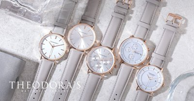 THEODORA'S, watches, gray, leather, straps