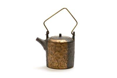 新百壺/百壺/100/陶作坊/泡茶/器具/陶金水波紋提把壺