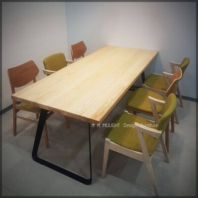 VERN-北歐造型扁腳實木桌(可訂製)