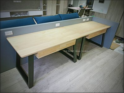 造型斜角收納實木書桌(可訂製)