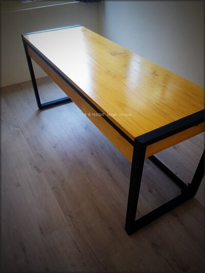 LOFT方框鐵腳實木抽屜書桌(可訂製)