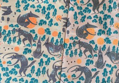 太郎印花布設計_茶色與米色