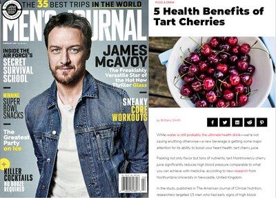酸櫻桃汁媒體報導, 酸櫻桃汁媒體推薦, 規律飲用酸櫻桃汁, 男士雜誌介紹酸櫻桃汁,  Men's Journal酸櫻桃汁報導