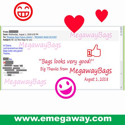 MegawayBags's Customers gave good comment on August 1, 2018