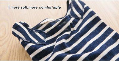 日日條紋九分袖上衣-海潮