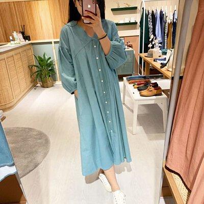 藍夏之約V領開襟洋裝