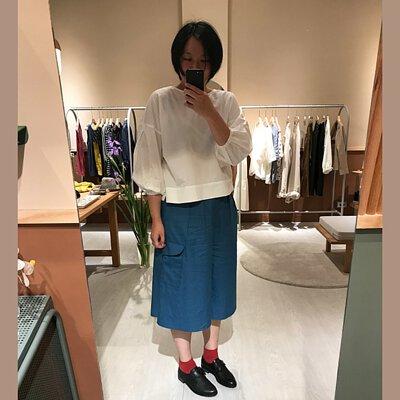 漂浮小島丹寧調節八分寬褲裙