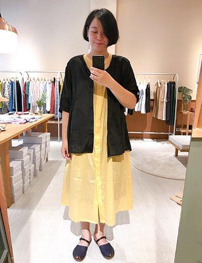 悠晃的夏夜罩衫洋裝-黃鶯