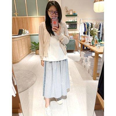 風和日麗藍白條紋中長裙
