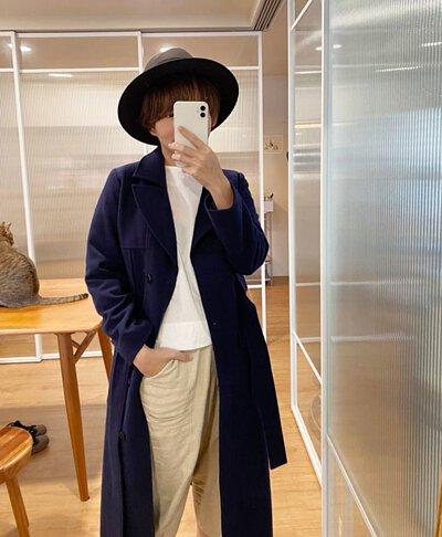 綿羊毛呢紳士帽-深咖