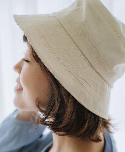 帽裡有春彩線漁夫帽-米色