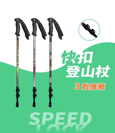 宜山MIT台灣製登山杖 專業快扣推薦 7075航太鋁合金款式2入優惠