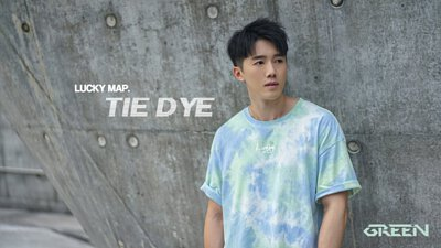 """ LUCKY MAP TIE DYE "" GREEN CREW NECK TEE"