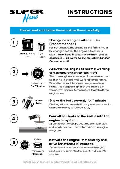 super nano engine restorer instructions