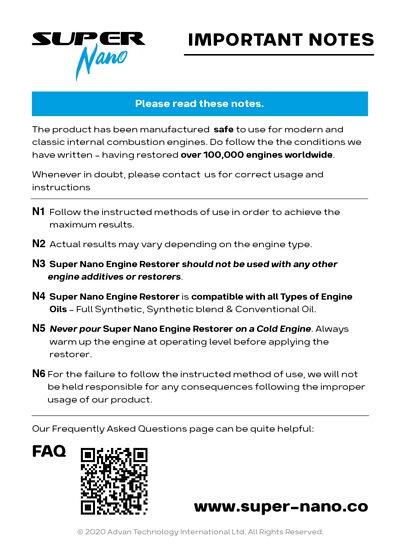 super nano engine restorer important notes