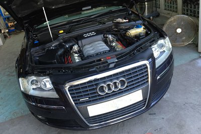 audi a8 d3 4.2l fsi quattro 2005 black engine bay