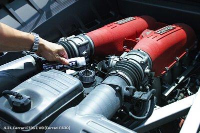 4.3 L Ferrari F136 E V8 F430 engine bay