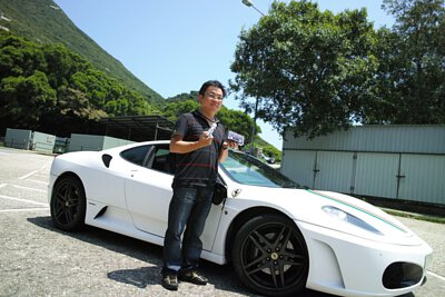 Peter wong with his Ferrari F430 white supercar