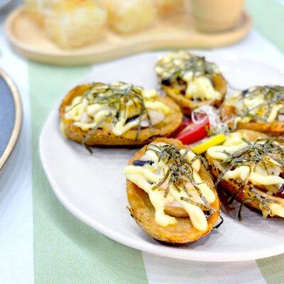 日式雞髀菇焗薯皮|適合3-5人享用的迷你素食田園套餐|多人到會外賣套餐|Kamadelivery