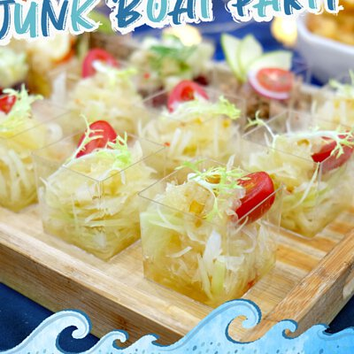 柚子青木瓜沙律|適合16-18人享用的Junk Boat Party Set|船P船河派對|多人到會外賣套餐|Kamadelivery
