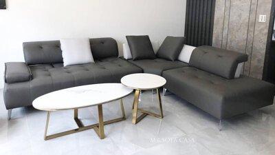 牛皮雙功能L型沙發