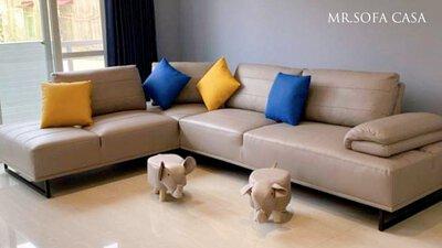 高質感牛皮雙功能L型沙發