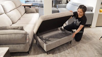 沙發腳椅上掀裡面多出一個大收納空間