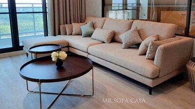 艾利斯沙發採低背的L型沙發設計
