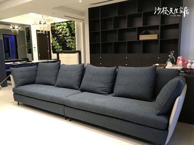 現代風的沙發上,可同樣挑選相同色系的黑灰白顏色布沙發
